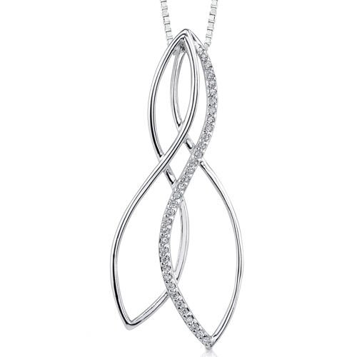 Oravo Modern Enchantment: Sterling Silver Designer Inspired Bridal Style Pendant Necklace with Cubic Zirconia