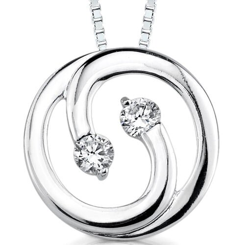 Dazzling Duo: Sterling Silver Bridal Style Eternity Circle with Cubic Zirconia