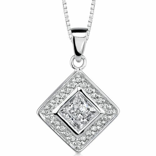 Chic Glamour: Sterling Silver Vintage Inspired Bridal Style Diamond Shaped Dangle pendant With ...