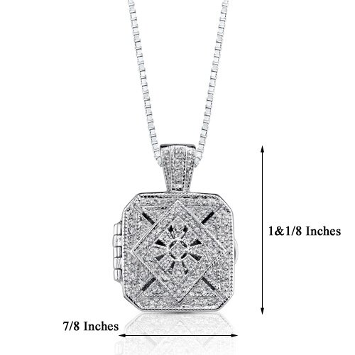 Oravo Vintage Legacy: Sterling Silver Antique Style Treasure Locket Pendant Necklace with Cubic Zirconia