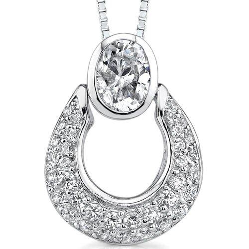 Dazzling Desire: Sterling Silver Designer Inspired Slider Style Basket Pendant Necklace with ...