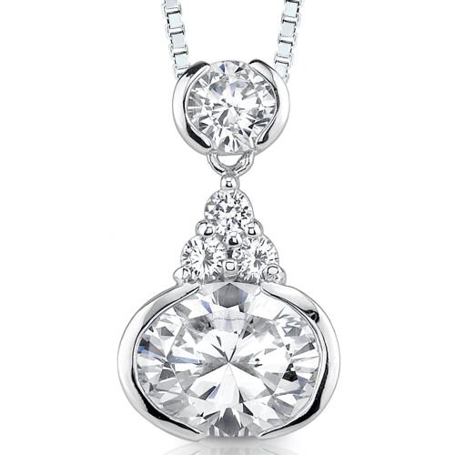 Enchanting Sparkle: Sterling Silver Art Deco Inspired Bridal Style Drop Pendant Necklace with ...
