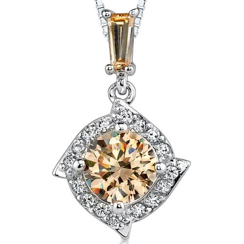 Golden Grace: Sterling Silver Celebrity Style Drop Pendant Necklace with Champagne Cubic Zirconia