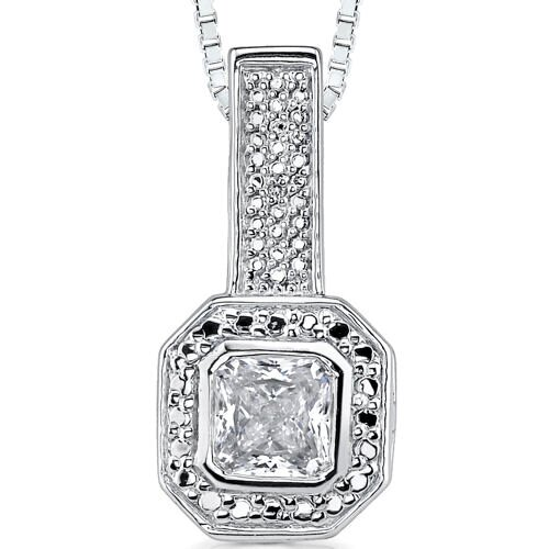 Fiery Magnificence: Sterling Silver Bridal Style Art Deco Inspired Enhancer Pendant Necklace ...