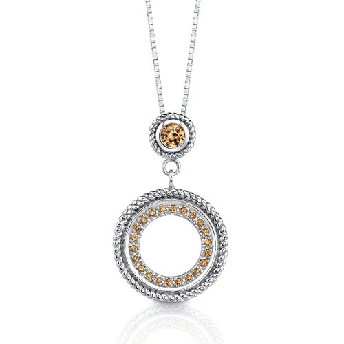 Oravo Classic Beauty: Sterling Silver Designer Inspired Circle Pendant Necklace with Champagne Cubic Zirconia