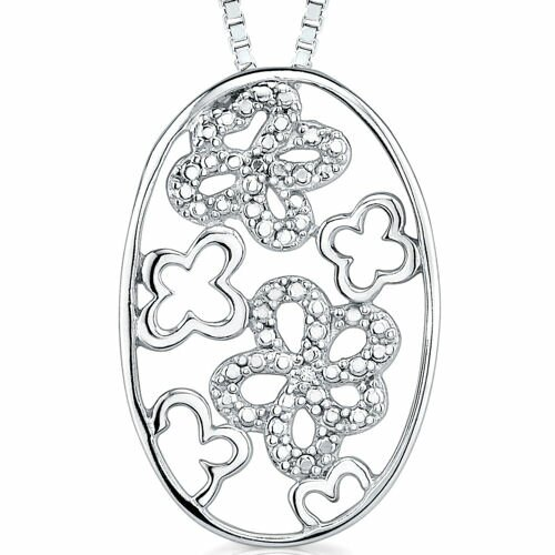 Oravo A touch of Irish Mystery: Sterling Silver Openwork Oval Medallion Clover floral motif Pendant Necklace