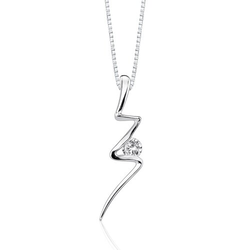 Oravo Dazzling Lights Sterling Silver Lighting Strikes Pendant Necklace with Cubic Zirconia