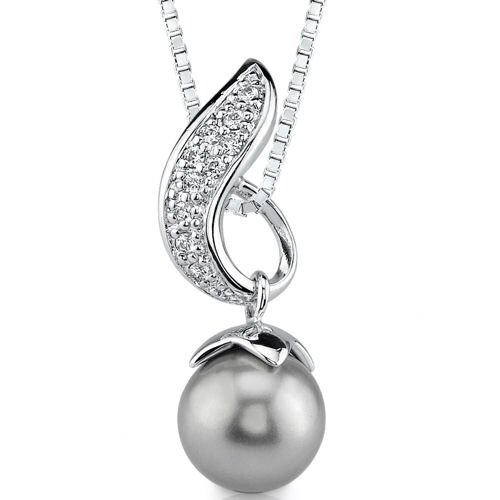 Luminous Beauty Sterling Silver Bridal jewelry Prom Style Slider Pendant Necklace with a 10mm ...