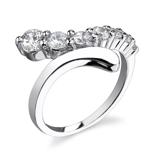 Indulge your Love Sterling Silver Designer Inspired By Pass Style Journey Size 6 Engagement ...