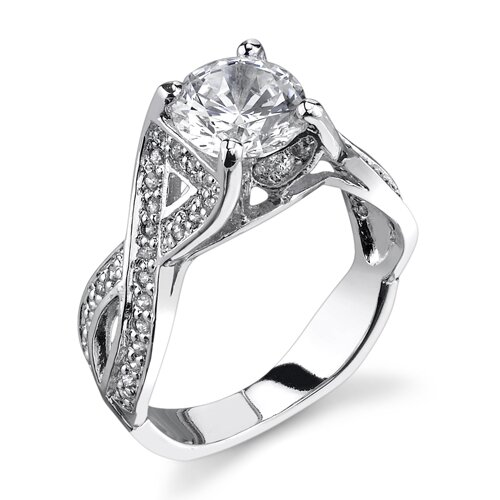 Infinite Love Sterling Silver Solitaire Style Size 7 Engagement Ring with Cubic Zirconia