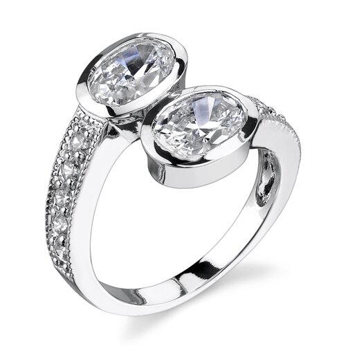 Perfect Duo Sterling Silver Size 7 By Pass Style Promise Ring with Bezel Set Cubic ...