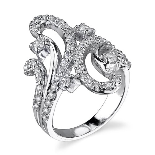 Enduring Glamour Sterling Silver Paisley Design By Pass Style Size 7 Cocktail Ring with Cubic ...