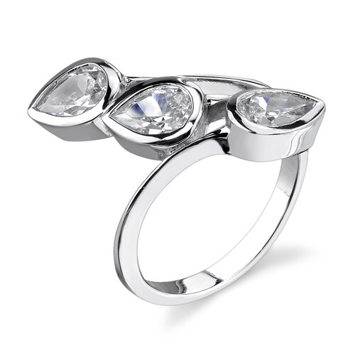 Triad of Glamour Sterling Silver Art Deco Style Size 7 Right Hand Ring with Bezel ...