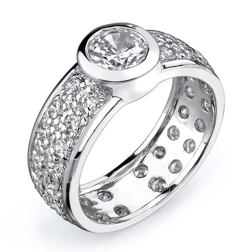 Cherished Eternity Sterling Silver Eternity Style Size 7 Engagement Ring with Cubic Zirconia