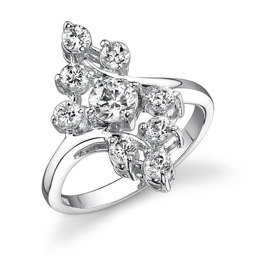 Spring Serenity Sterling Silver Floral Style White Cubic Zirconia Right Hand Ring