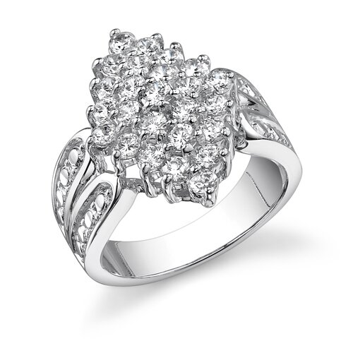 Timeless Magic Sterling Silver White Cubic Zirconia Vintage Style Cluster Engagement Ring