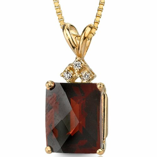 14 Karat Yellow Gold 2.00 Carats Radiant Checkerboard Cut Garnet Diamond Pendant