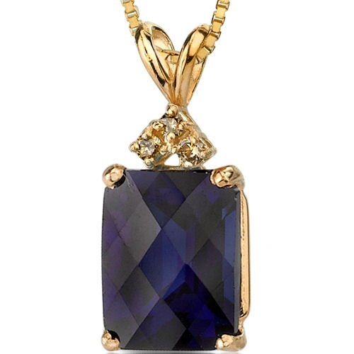 14 Karat Yellow Gold 3.00 Carats Radiant Checkerboard Cut Sapphire Diamond Pendant