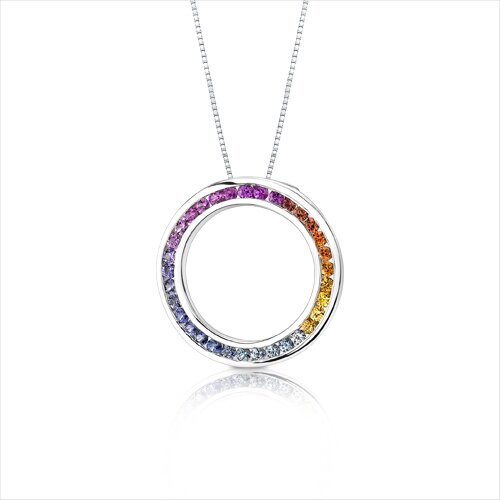 Oravo 14 Karat White Gold 1.25 Carats Top Gem Quality Rainbow Sapphire Circle of Life Pendant