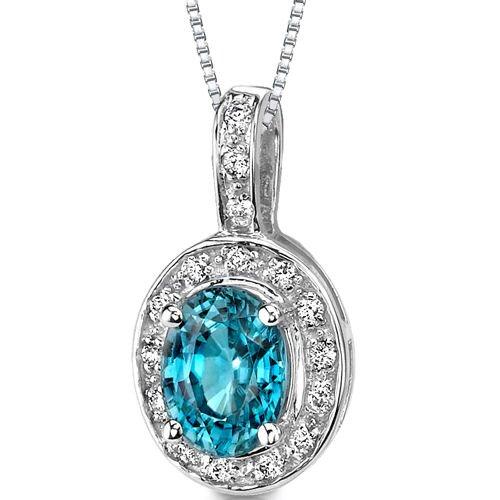Oravo 14 Karat White Gold 2.37 Carats Top Quality Blue Zircon Solitaire and G Color VVS Clarity Diamond Pendant