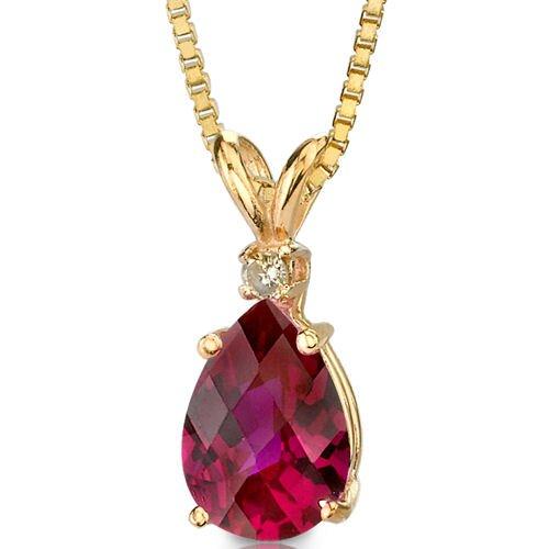 Oravo 14 Karat Yellow Gold 1.50 Carats Pear Checkerboard Cut Ruby Diamond Pendant