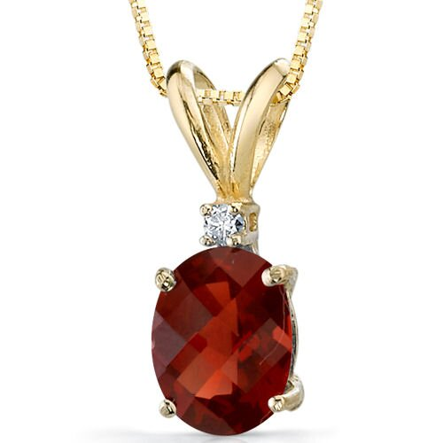 14 Karat Yellow Gold 1.50 Carats Oval Checkerboard Cut Garnet Diamond Pendant with Chain