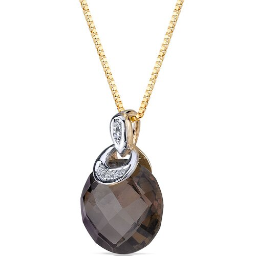 "Oravo 0.5"" 10 Karat Two Tone Gold 3.50 Carats Checkerboard Cut Smoky Quartz Diamond Pendant"