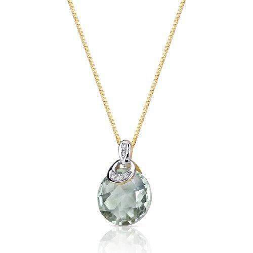 "Oravo 0.5"" 10 Karat Two Tone Gold 3.75 Carats Checkerboard Cut Green Amethyst Diamond Pendant"