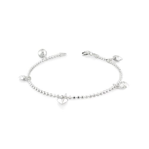 Oravo Bead Ball Chain Charm Bracelet Sterling Silver