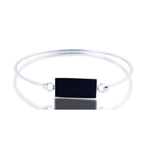 Oravo Black Onyx Bar ID Bangle Bracelet Sterling Silver