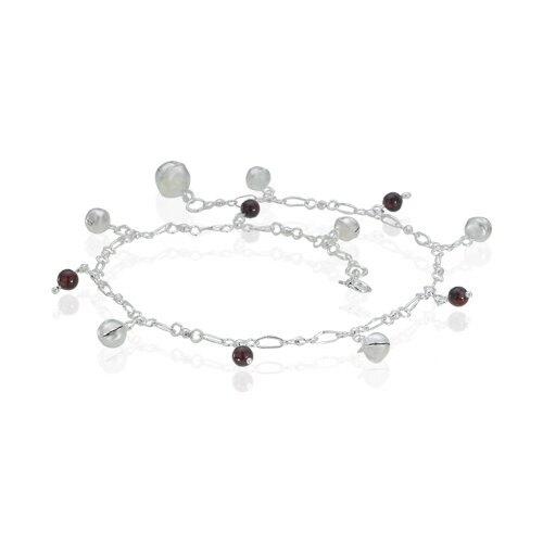 Oravo Garnet Bead and Silver Ball Charm Anklet Sterling Silver