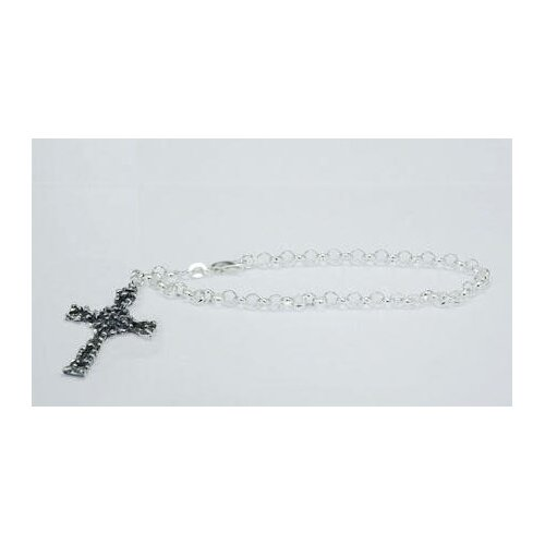 Cross Charm Rolo Chain Bracelet Sterling Silver