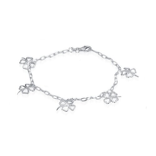 Flower of Hearts Charm Bracelet Sterling Silver