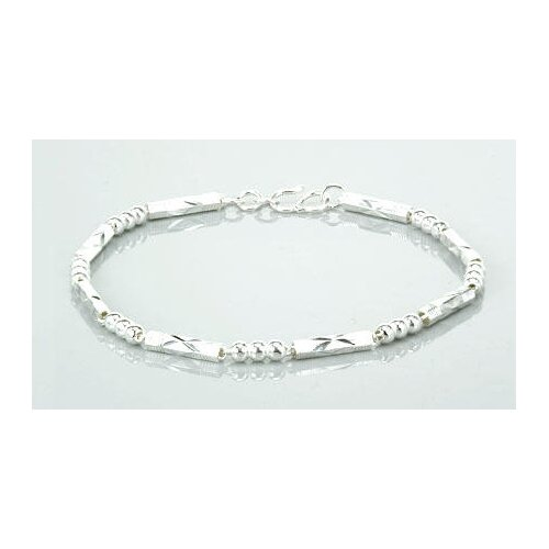 Laser Cut Tube and Ball Link Bracelet Sterling Silver
