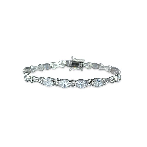 Unique Styling Oval and Round Cut Gemstone Bracelet in Sterling Silver