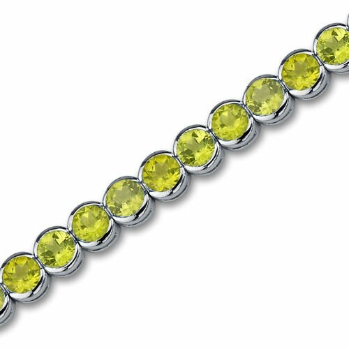 Oravo Must Have Classic 18.25 Carats Round Cut Peridot Gemstone Tennis Bracelet in Sterling Silver