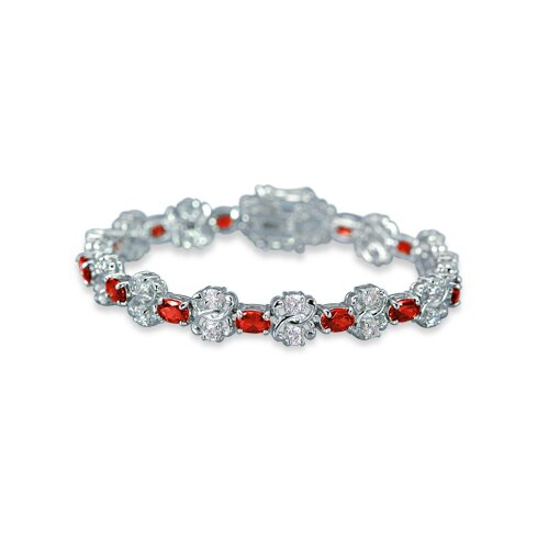 Bursting with Radiance Oval and Round Cut Gemstone Bracelet in Sterling Silver