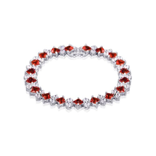Distinctive Design Princess and Round Cut Gemstone Bracelet in Sterling Silver