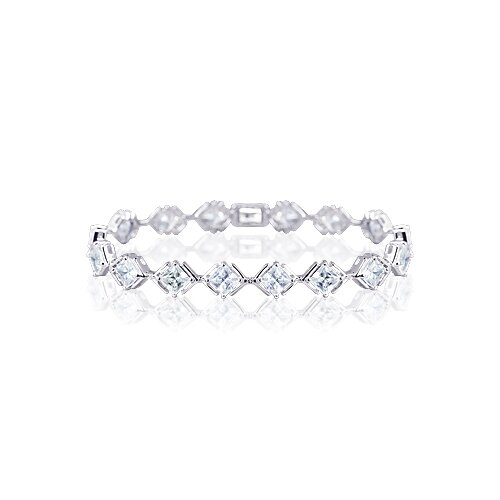 Oravo Classy and Elegant Princess Cut Gemstone Bracelet in Sterling Silver