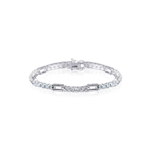 Classic Split Style Round Cut Gemstone Bracelet in Sterling Silver