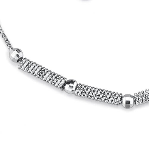 Oravo Stylish Statement Sterling Silver Designer Inspired Fancy Link Silver Bead Bracelet