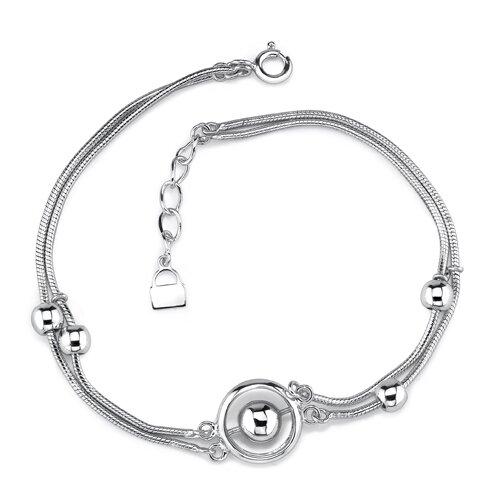 Elegant and Sophisticated Sterling Silver Designer Inspired Double Snake Chain Silver Bead Bracelet