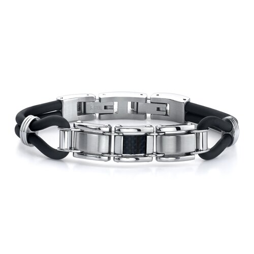 Refined Style Stainless Steel, Carbon Fiber and Rubber Cord Bracelet for Men