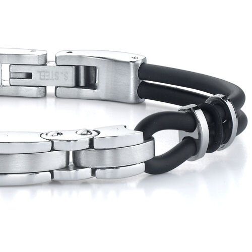 Oravo Exclusive Elegance Stainless Steel Triple-bar Link and Dual Rubber Cord Bracelet for Men
