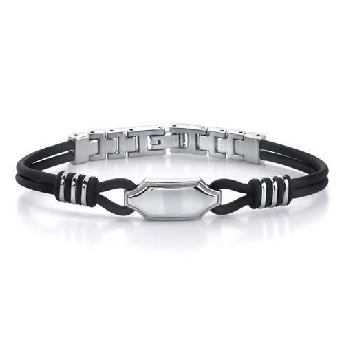 Exclusive Style Stainless Steel ID-style Dual Rubber Cord Link Bracelet for Men