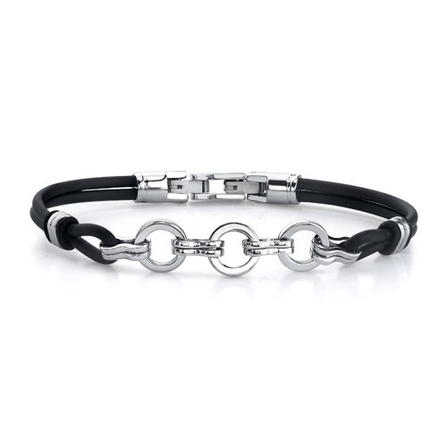 Simple Elegance Stainless Steel Circle-style Dual Rubber Cord Link Bracelet for Men