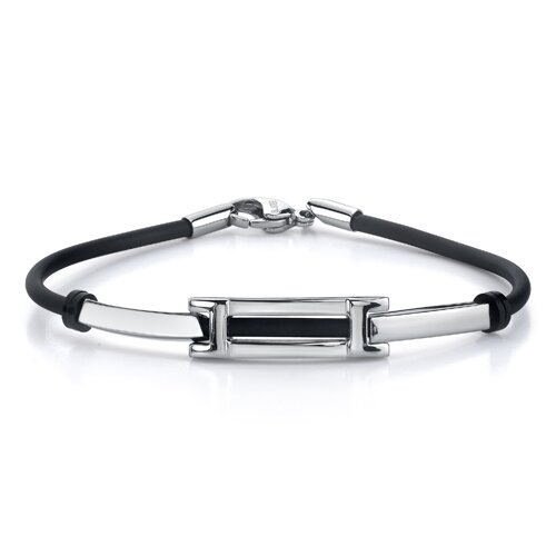 Stylish Sophistication Stainless Steel Bar link ID-style Rubber Cord Bracelet for Men