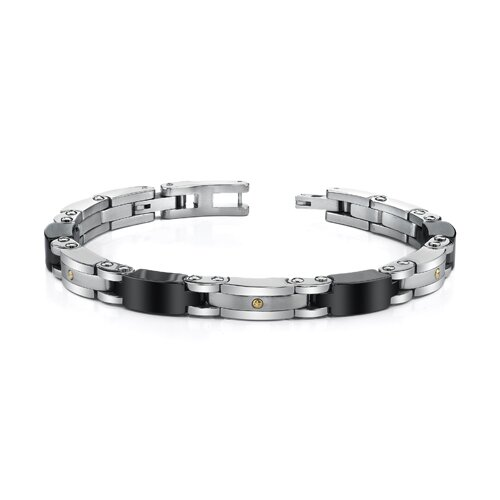 Sleek Stainless Steel and 18 Karat Gold Mens Bracelet