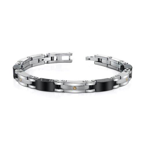 Sleek Stainless Steel and 18 Karat Gold Mens Bracelet