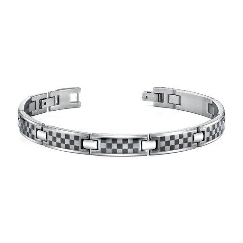 Stainless Steel Mens Bracelet with Laser ChessBoard Pattern